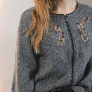 COZY EMBROIDERED ZIP FRONT SPECKLED KNIT CARDIGAN